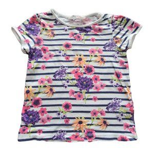 🍒3/$20🍒H&M Floral Striped Short Sleeve T 6-8 yrs